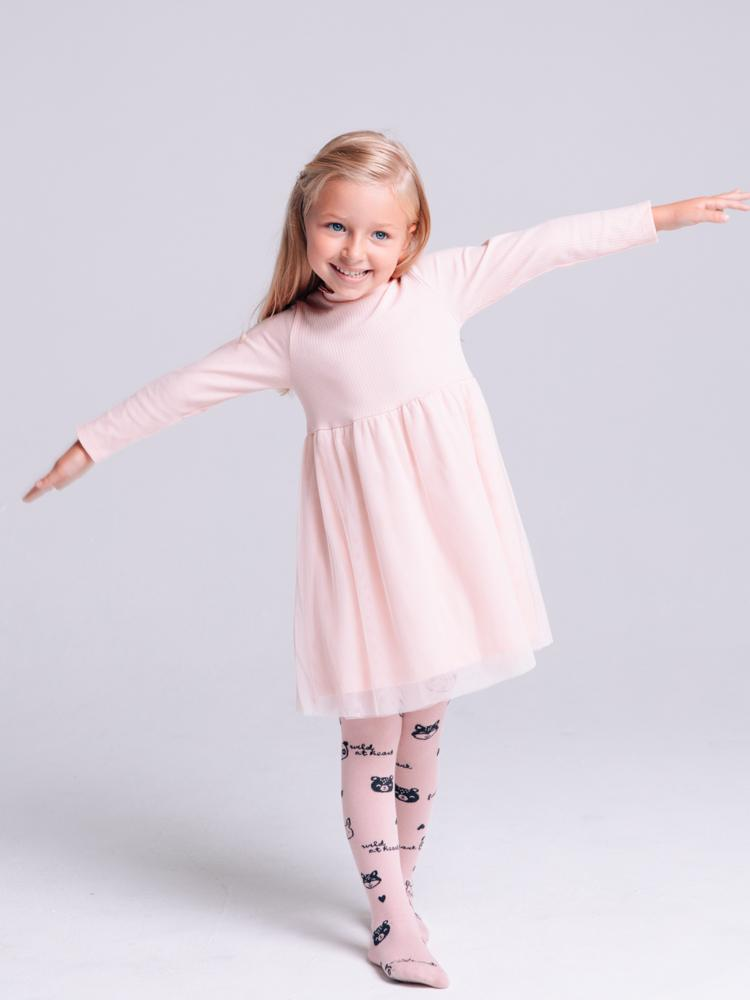 Artie - Pale Pink Ribbed Dress with Tuelle Skirt & Ruffle Neck - Stylemykid.com