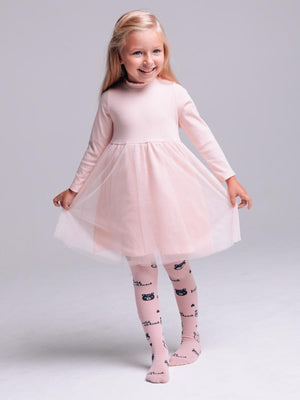 Artie - Pink Wild at Heart Panda Patterned Girls Tights - Stylemykid.com