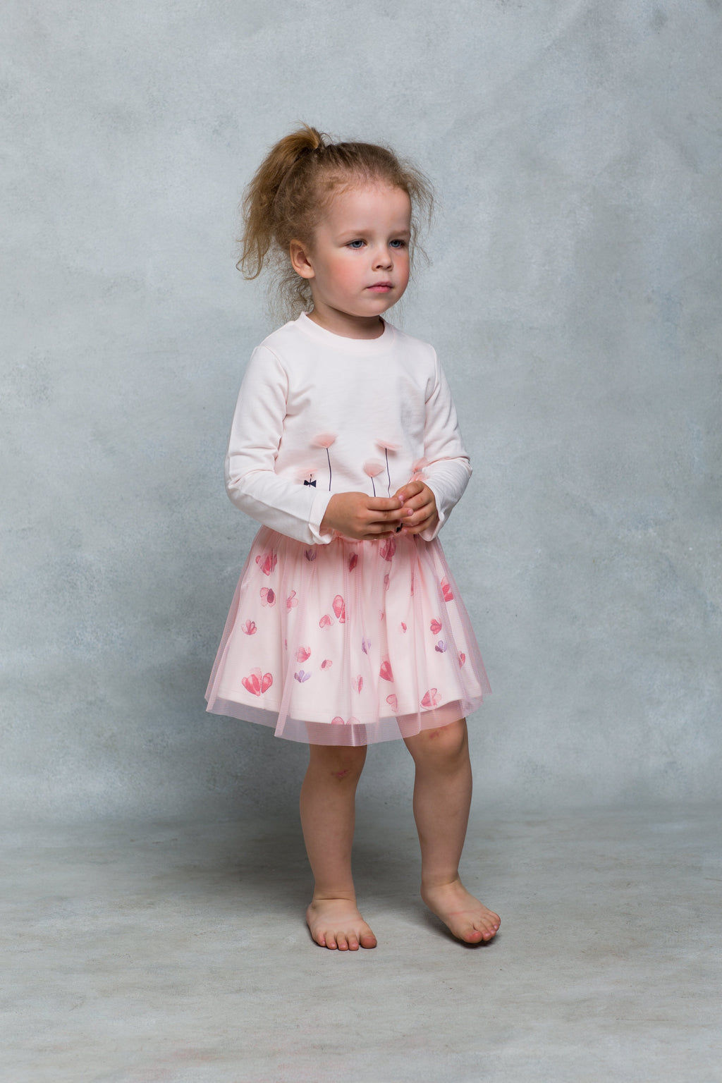 Tall Flowers Long Sleeve Pink Tee with Tulle Petals - 9 months to 4 years - Stylemykid.com