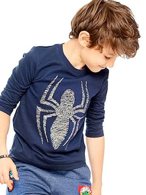 Spider-Man Metallic Embroidery Long Sleeve Top  3-7 Years - Stylemykid.com