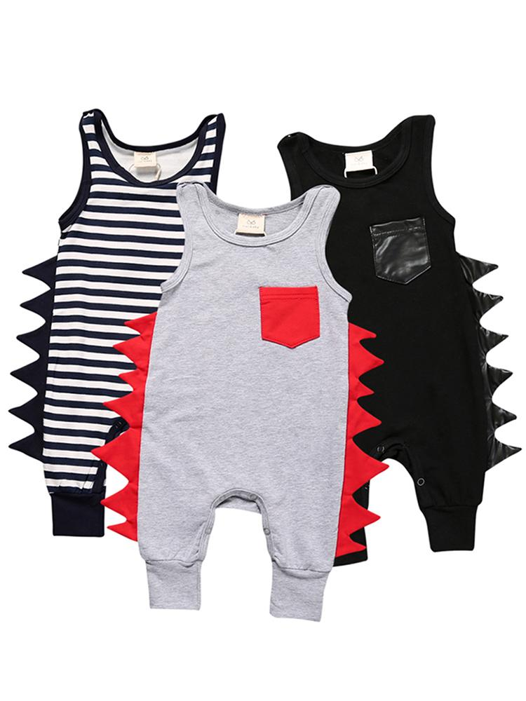 Sleeveless Grey Romper with Red Soft Dino Spikes - Stylemykid.com