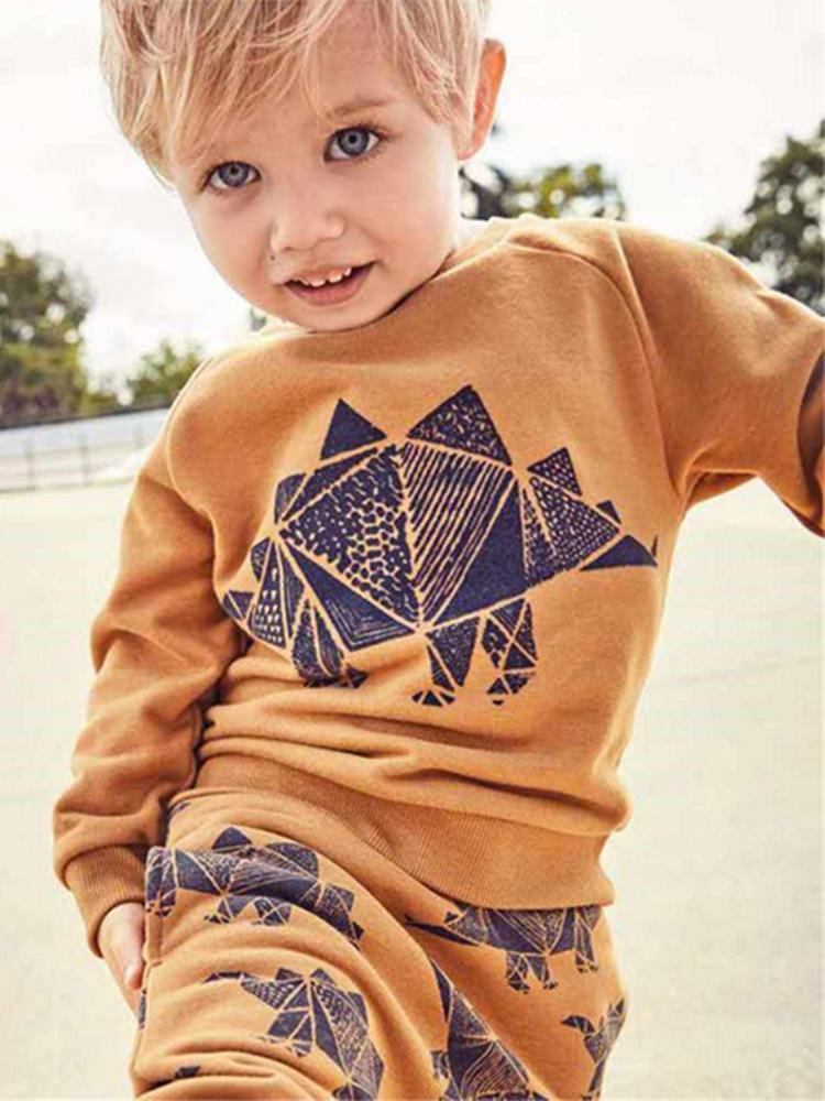 Super Stegosaurus - Dinosaur Print Boys/Girls Tan & Black Tracksuit - 2 Piece Set - Stylemykid.com