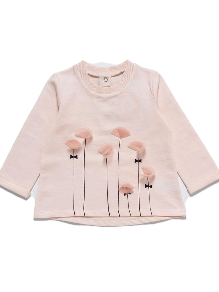 Artie - Tall Flowers Long Sleeve Girls Pink Top with Tulle Petals - Stylemykid.com