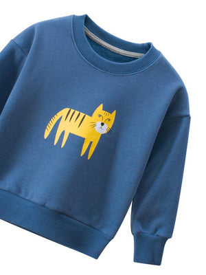 Tiger Trouble - Boys/ Girls Cornflower Blue Sweatshirt - Stylemykid.com