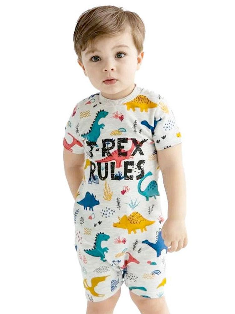 Artie - T Rex Rules Dino Multicoloured Baby Boy French Terry Romper