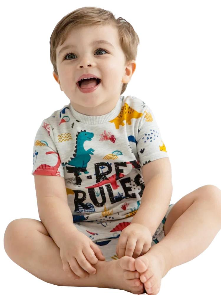 Artie - T Rex Rules Dino Multicoloured Baby Boy French Terry Romper - Stylemykid.com