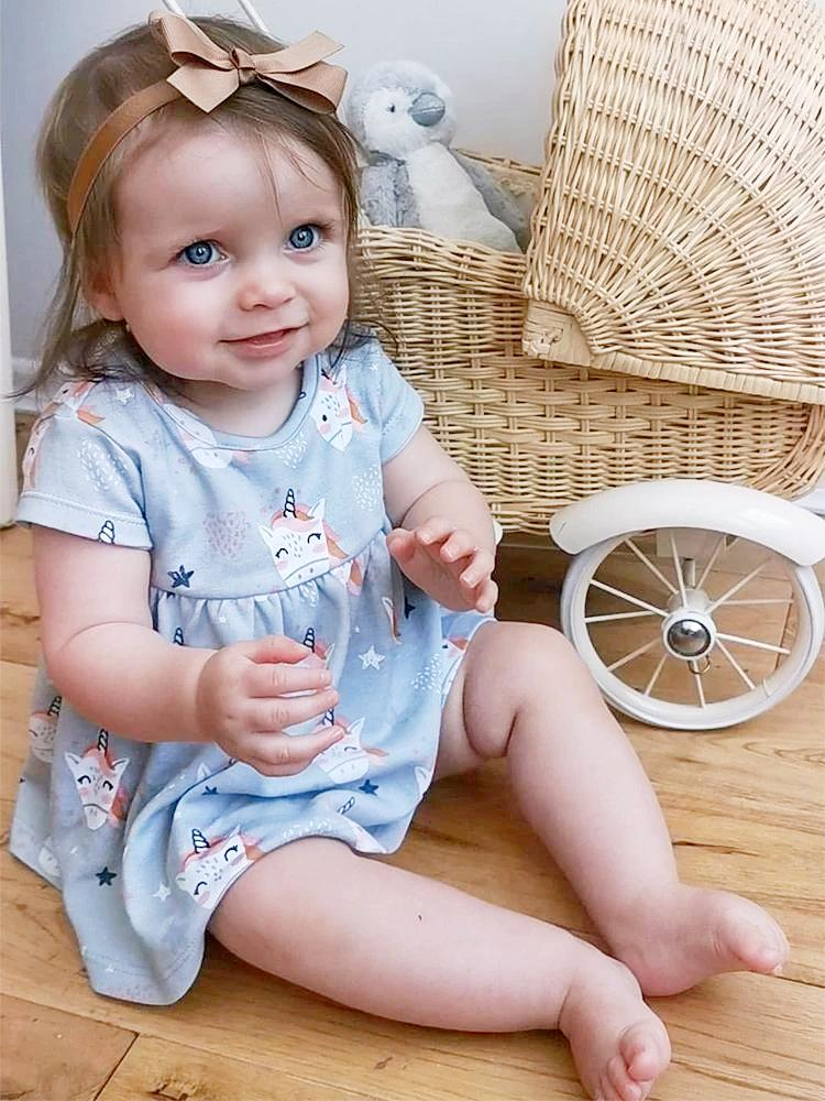 Artie - Happy Unicorn Baby Interlock Dress - Stylemykid.com