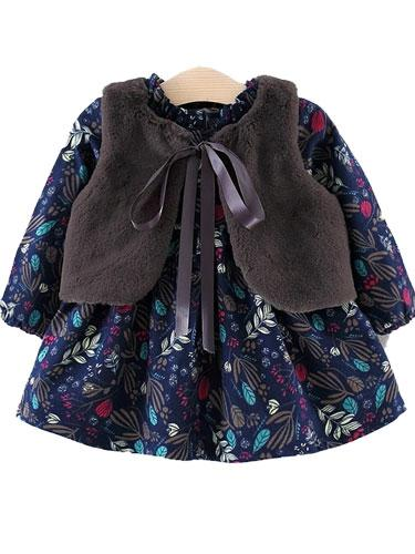 Winter Blossom Blue Flower Fleece Dress with Grey Faux Fur Gilet Set - Stylemykid.com