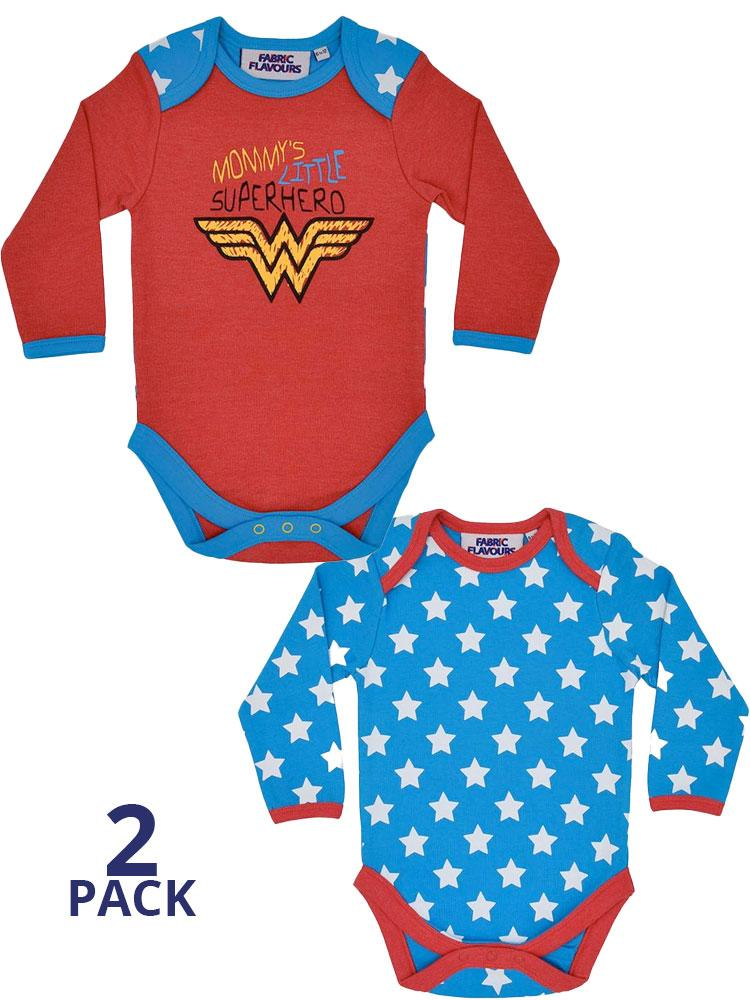 Wonder Woman Babygrow 2 Pack - Superhero and Stars - 0-6 months to 18-24 months
