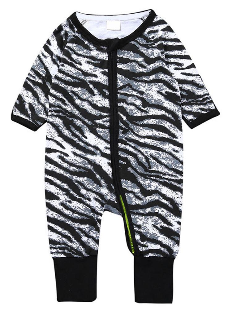 Zebra Print - Black and White Baby Zip Sleepsuit with Turnover Hand & Feet Cuffs - Stylemykid.com