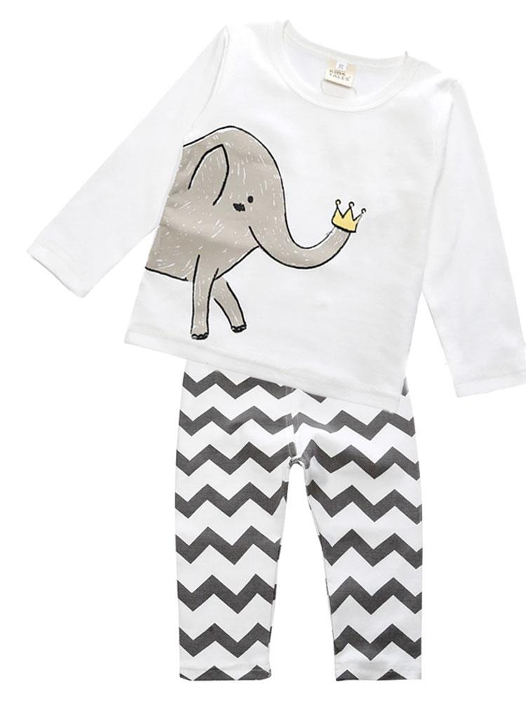 Zig Zag Elephant Outfit - White top with Black and White Bottoms - Stylemykid.com