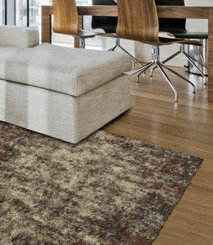 BOREALIS PLUSH ABSTRACT SHAG TAUPE/SPICE