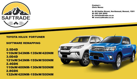 Toyota Hilux / Fortuner 2.8 GD6 ECU Software Remap - Saftrade