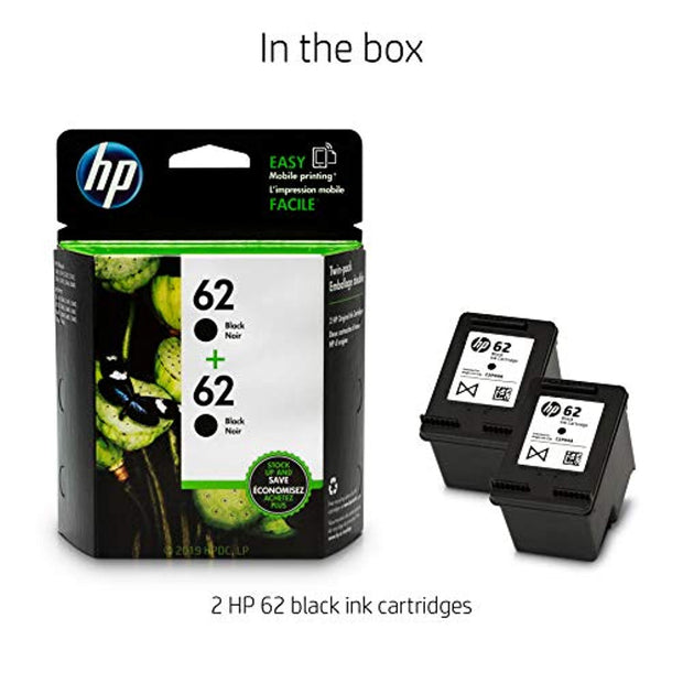 HP 62 2 Ink Cartridges  Black  T0A52AN#140