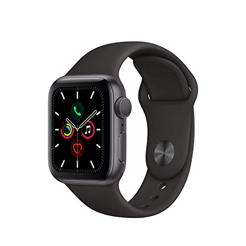 Apple Watch Series 5 (GPS, 44MM) - Space Gray Aluminum Case with Black Sport Band (Renewed)