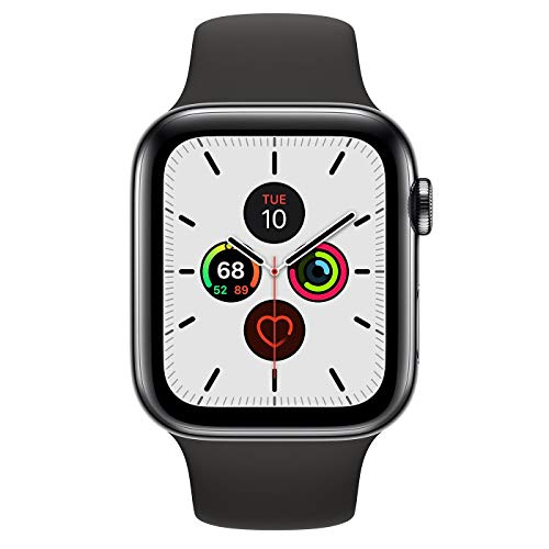 Apple Watch Series 5 (GPS + Cellular, 44MM) - Space Black Stainless Steel Case with Black Sport Band (Renewed)
