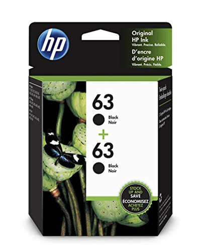 HP 63 T0A53AN#140 2 Ink Cartridges Black F6U62AN