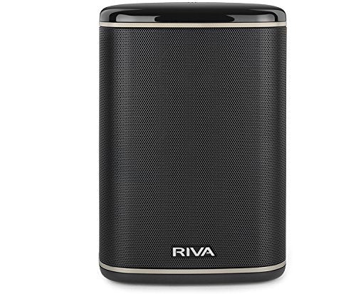 RIVA ARENA Smart Speaker Compact Wireless for Multi-Room music streaming and voice control works with Google Assistant (Black)