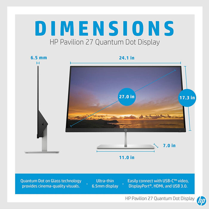 HP Pavilion 27 Quantum Dot Display, VESA Certified HDR, Quantum Dot Resolution, DCI-P3 Technology, Ultra-Thin Design (5DQ99AA) (Renewed)