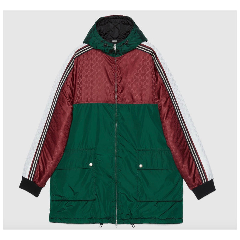 Gucci Green & Red GG Nylon Jacquard Jacket