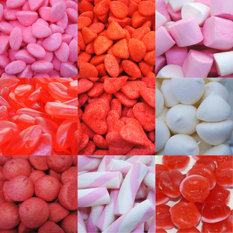 Candy bar - rouge, rose et blanc.