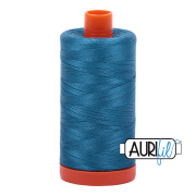 Aurifil Cotton Mako Thread - Medium Teal (1125) - Large Spool (1300m/1422yd) - BUY 2 SPOOLS for $26.99 and Save $3.00