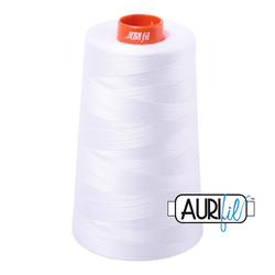 Aurifil Cotton Mako Thread - White (2024) - Cone (5900 m/6452 yd)