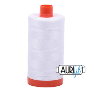 Aurifil Cotton Mako Thread - White (2024) - Large Spool (1300m/1422yd) - BUY 2 SPOOLS for $26.99 and Save $3.00