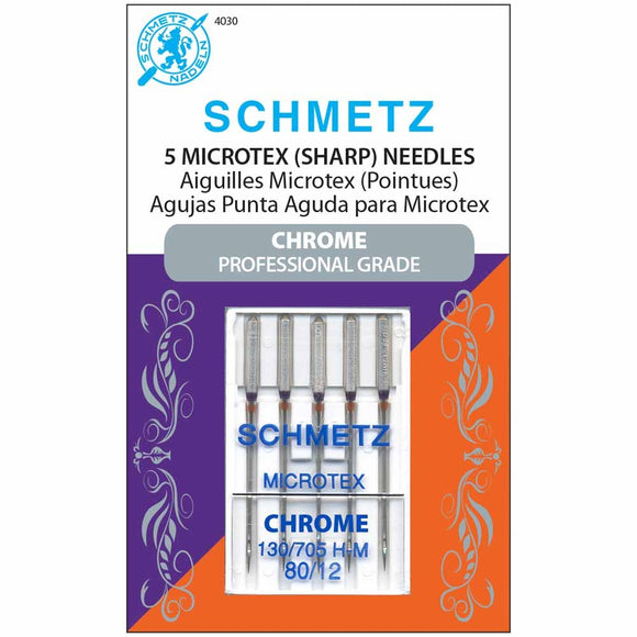 Schmetz Microtex Chrome Professional Grade Needles - Size 80/12