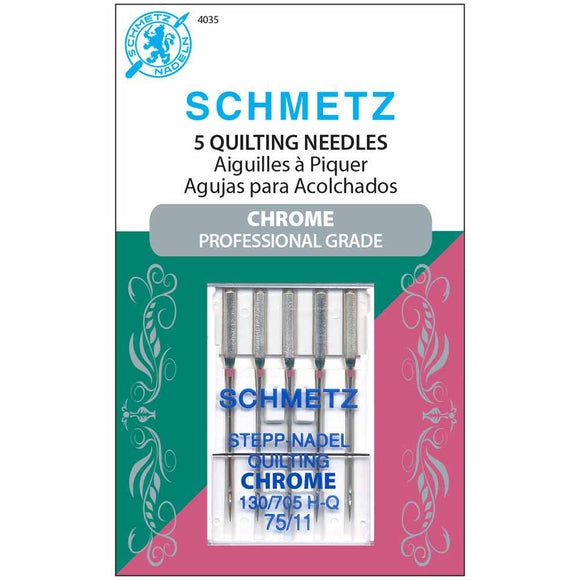 Schmetz Chrome Professional Grade Quilting Needles - Size 75/11