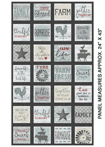 Farm Sweet Farm Charcoal Multi Panel