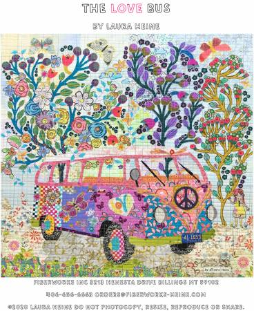 The Love Bus Collage Pattern by Laura Heine for Fiberworks.