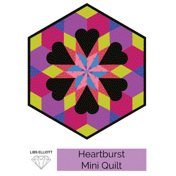 Heartburst English Paper Piecing (EPP) Mini Quilt Pattern by Libs Elliot