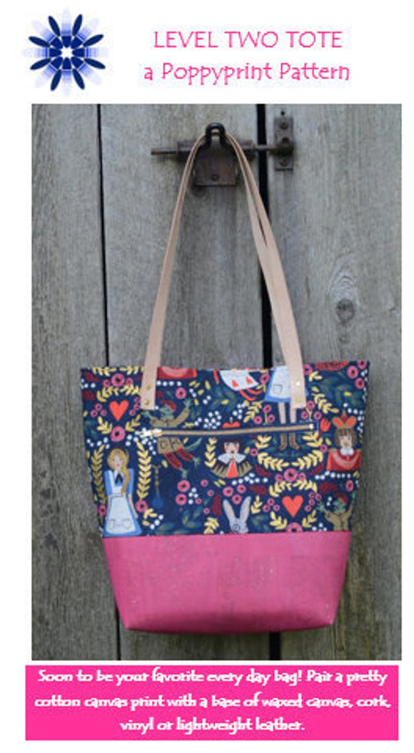 Level Two Tote by Poppy Prints - INCLUDES PATTERN AND LEATHER HANDLES - Wednesday November 27 9:00 - 4:00 OR Saturday November 30 9:00 - 4:00