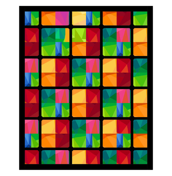 Crystal Persuasion Quilt Kit  - Kaleidoscope/Fractured Light By Northcott Fabrics - 52.5