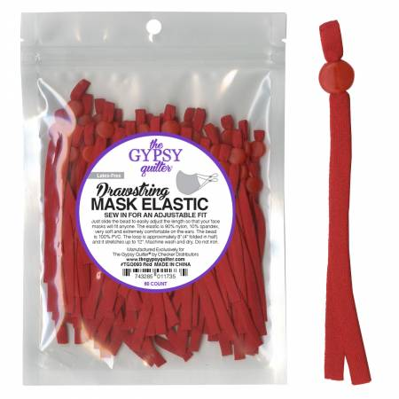 Drawstring Mask Elastic by Gypsy Quilter - Red - 60 ct