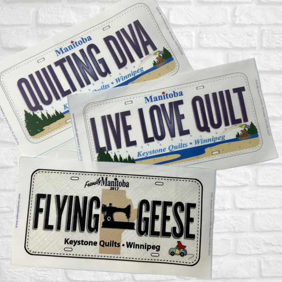 Live, Love, Quilt - License Plate - Row by Row Experience (Quilters Trek) - 2017