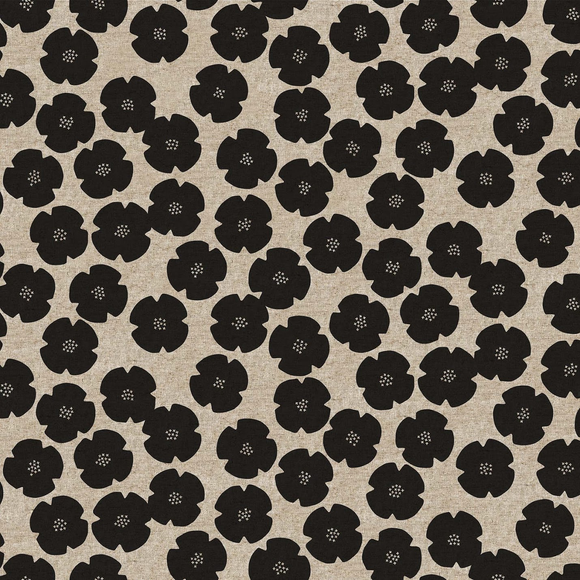 Black - Calm Flowers - Cotton/Linen -  Harmony by Ghazal Razavi for Figo Fabrics - $22.99/m