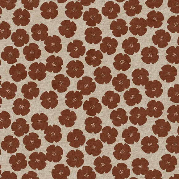Maroon - Calm Flowers - Cotton/Linen -  Harmony by Ghazal Razavi for Figo Fabrics - $22.99/m