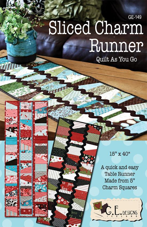 Sliced Charm Table Runner Pattern by Gudrun Erla for GE Designs - Charm Pack Friendly!