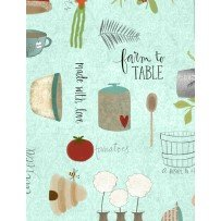 Light Teal - Kitchen - Freshly Picked by Wilmington Prints