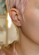 Load image into Gallery viewer, woman-with-green-hair-wearing-silver-dangle-earrings
