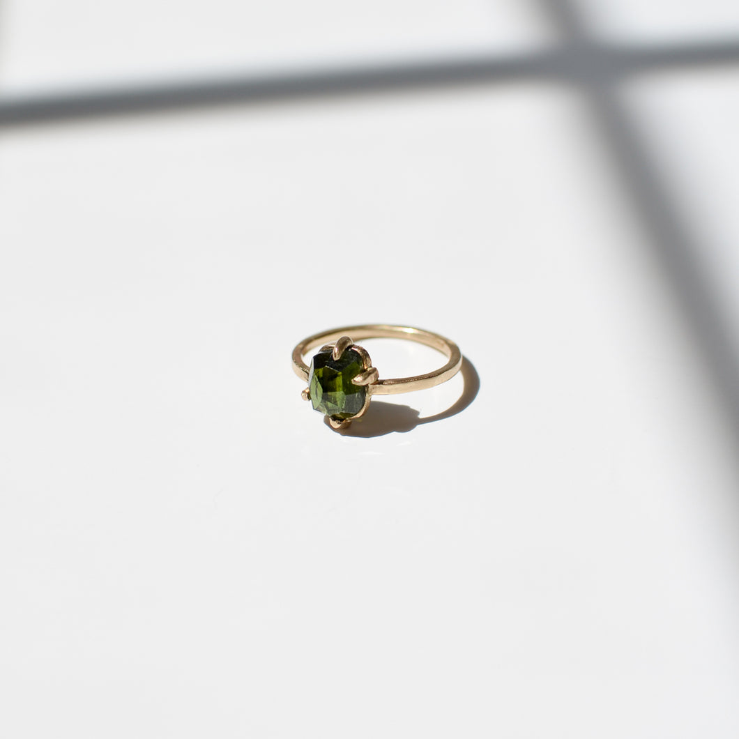 Green Tourmaline Ring | Recycled 14k Gold