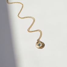 Load image into Gallery viewer, Sapphire Coin Necklace | Recycled 14k Gold