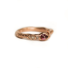 Load image into Gallery viewer, rose-gold-snake-ring-with-ruby-head-and-diamonds