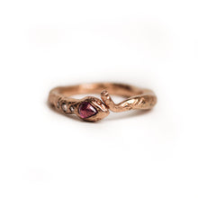 Load image into Gallery viewer, Rose-gold-ruby-and-diamond-snake-ring