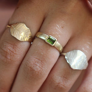 Emerald Cut Green Tourmaline Ring | 14k Recycled Gold
