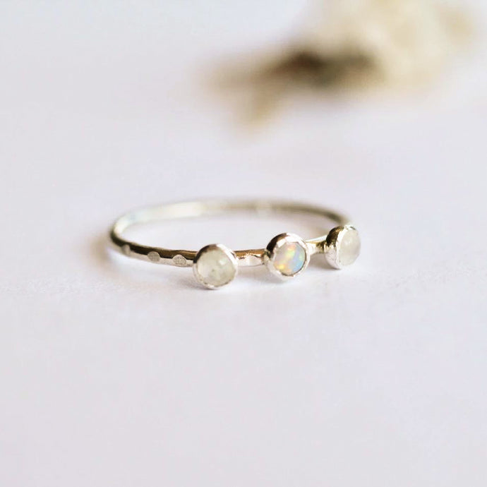Moonstone & Opal Orion Ring | Recycled Sterling Silver