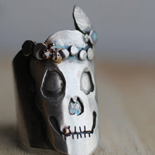 Load image into Gallery viewer, sterling-silver-skull-ring