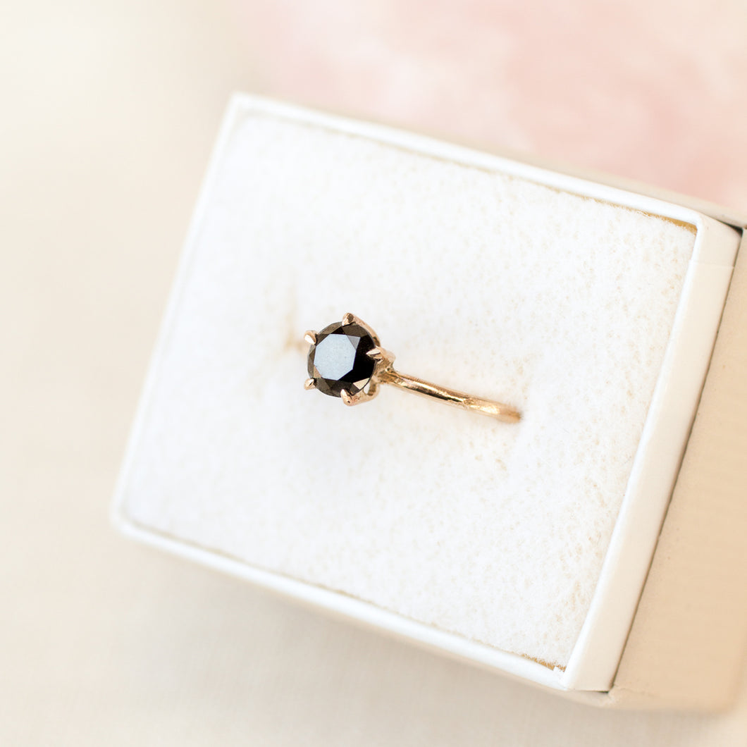 Black Diamond Solitaire | Recycled 14k Gold